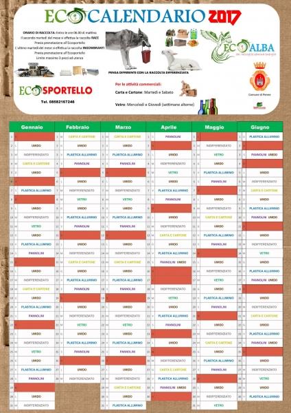Calendario Raccolta Differenziata Teramo.Calendario Raccolta Differenziata Penne 2017 Pescarapost