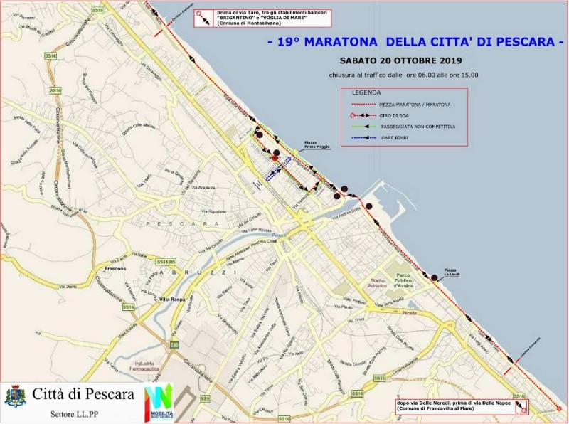 Pescara Cartina.Mappa Maratona Pescara Percorso 20 Ottobre 2019 Pescarapost
