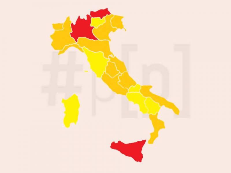 mappa-italia-regioni-rosse-arancioni-gialle-17-gennaio