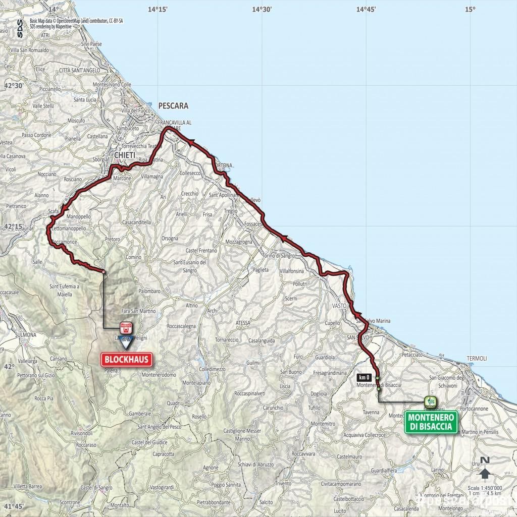 Cartina Percorso Giro D Italia 2017.Mappa E Percorso Tappa Giro D Italia Montenero Di Bisaccia Blockhaus 14 Maggio 2017 Pescarapost
